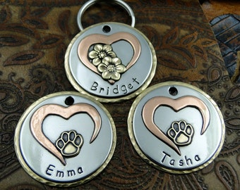 Open Heart Paw or Flowers Dog ID Tag, Handmade Pet ID Tag,Custom Dog Collar ID Tag