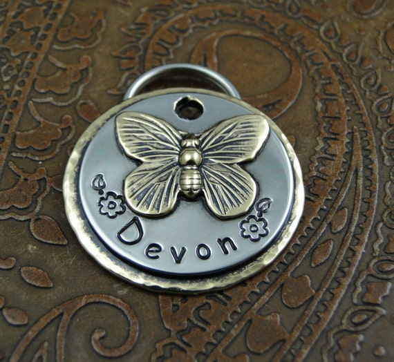 Butterfly ID Pet Tag, Custom Dog ID Tag, Handmade Dog Collar Butterfly Tag