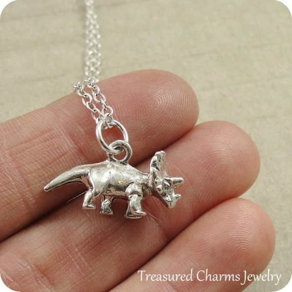 Triceratops Dinosaur Necklace, Silver Triceratops Charm on a Silver Cable Chain