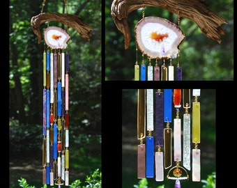 Wind Chimes Recycled Beach Glass Sea Glass Suncatcher Driftwood Wind Chimes Stained Glass Sun Catcher - Purple and Gold Vibrations