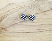 Simple Black and White Striped Post Earrings