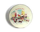 Vintage Tin Rosmarie De Paris Street Scene Horse Carriage