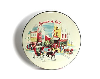 Vintage Tin Rosmarie De Paris Street Scene Horse Carriage