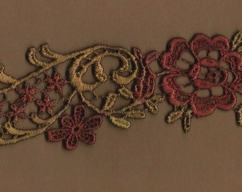 Hand Dyed Floral Scroll Venise Lace Applique Victorian Wine Bliss