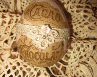 Vintage Lace Chocolat Cacao Ad Collage Easter Egg 2  Spring Decor