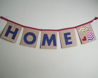 SO HAPPY 'Home' Burlap Bunting