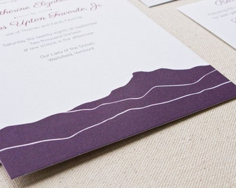 Camel's Hump Vermont Wedding Invitation, Digital printed SAMPLE
