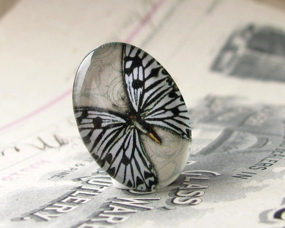 Exclusive orginal image, black and white butterfly, photo glass cabochon,  25x18mm glass oval cabochon, 25x18 cabochon, 18x25 18x25mm