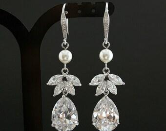 Wedding Earrings Pearl Drop Earrings Wedding Jewelry Cubic Zirconia dangle Bridal Earrings Round Swarovski Pearl Earrings, Nicole