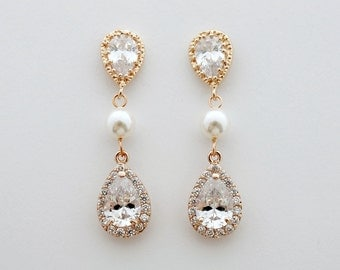 Bridal Earrings Rose Gold Wedding Earrings Gold Wedding Earrings Wedding Jewelry Cubic Zirconia Pearl Earrings Teardrop Bridal Jewelry