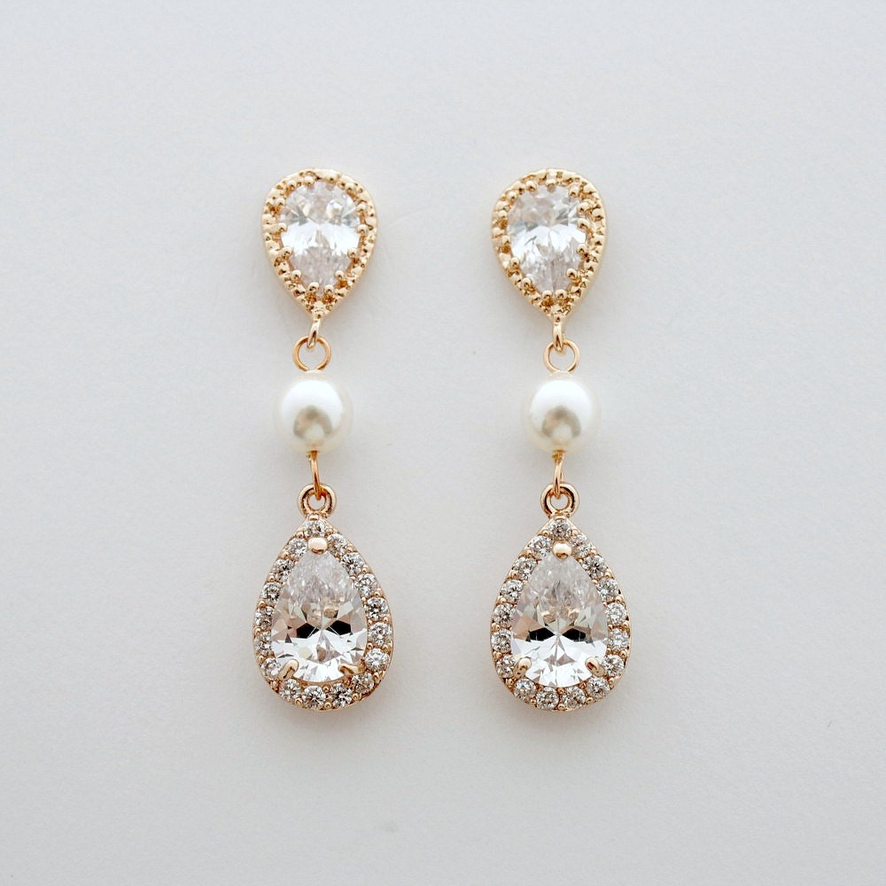 rose gold wedding earrings crystal bridal earrings gold. Black Bedroom Furniture Sets. Home Design Ideas