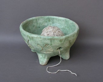 Large Stoneware Yarn Bowl with Imprinted Ginkgo Leaves