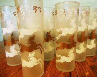 Vintage Tall Glassware Horse Glasses Frosted Gold / White, 8 Mid Century Modern Cavalcade
