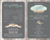 PRINTED Wedding Program - Style P4 - VINTAGE COLLECTION