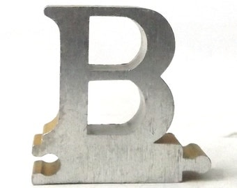 vintage 1950's letter B puzzle piece brushed aluminum metal word home decor sign message text type font silver retro home decor small old