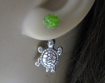 Double Sided Earrings Front Back Earrings Ear Jacket Earrings Green Silver Turtle Studs Surgical Steel Stained Glass Trendy Jewelry