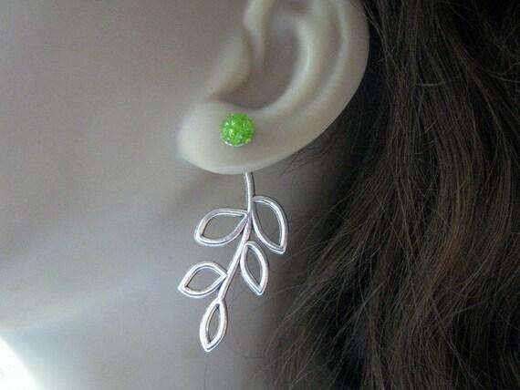 Double Sided Earrings Front Back Earrings Ear Jacket Earrings Green Silver Leaf Studs Surgical Steel Stained Glass Trendy Jewelry