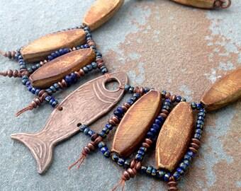 Earthy Fish Necklace, Tribal Jewelry, Tribal Necklace, Knotted Necklace, Lapis Jewelry, Gypsy Jewelry, YaYJewelry