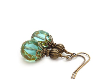 Aqua Drop Earrings - Picasso Glass Beads - Translucent Aquamarine - Boho Style Pale Blue Vintage-Inspired Jewelry