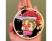 Day of the Dead Santa Ornament -  Skull Hoop Art - Day of the Dead Hoop Art - Santa Skull - Inspired by Mexican Folk Art & Haitian Art