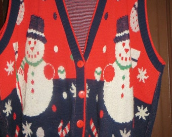 Vintage UGLY CHRISTMAS snowmen and candy canes sweater vest sz 24