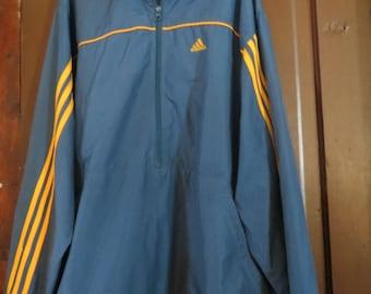 Gold and Navy Adidas Zip Up Windbreaker, 90s Adidas Jacket, 90s Adidas Windbreaker sz xlarge