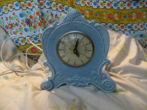 Vintage Lanshire Porcelain Floral Electric Time Blue Clock
