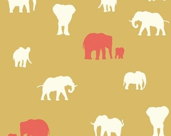 KNIT Organic Cotton Fabric-Birch- SERENGETI- The Herd sun- Great Shipping Rates