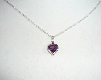Tiny Heart Necklace, February birthstone, amethyst Swarovski  crystal