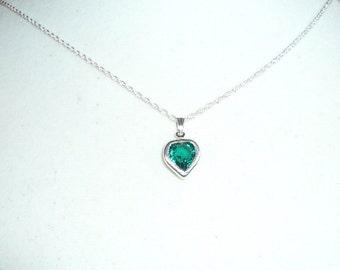 Tiny Heart Necklace, May birthstone, emerald Swarovski crystal