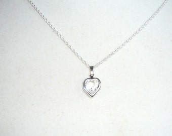 Tiny Heart Necklace, April birthstone, Swarovski clear crystal