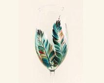 Hand-Painted Bachelorette Champagne Glasses - Turquoise Blue Copper Feathers Set of 8 - Wedding Glasses Painted Pintado a Mano Vaso de Vino