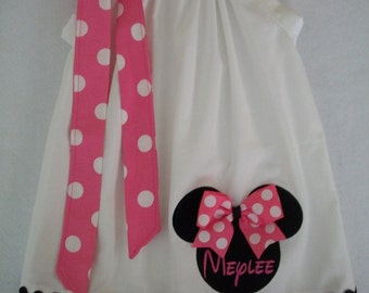Minnie Mouse Pillowcase dress-baby toddler girls,size 3 months to 6 years old, birthday dress-vacation dress