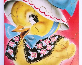 Vintage Baby Chick Puzzle, by Saalfield Publishing Co., Pre School, Nursery Wall Art, circa late 1940's early 1950s