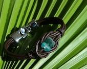 Blue Green Primitive Sea Glass and Leather Bracelet