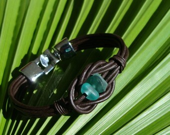 Shades of Green  Sea Glass and Leather Bracelet