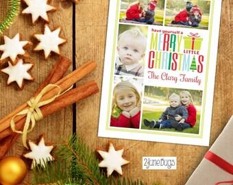 Christmas Photo Card - Christmas Card - Printable Photo Card - Merry Little Christmas Collage Photo Card