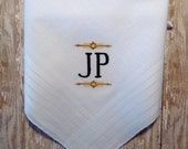 Man's Monogrammed Wedding BEST MAN GROOMSMAN Handkerchief Keepsake Gift