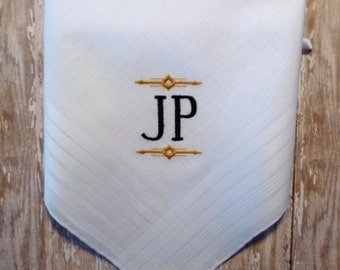 Man's Monogrammed Wedding Hankerchief BEST MAN GROOMSMAN  Groom Handkerchief Keepsake Gift