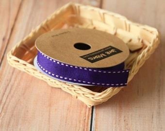 PURPLE Stitched Grossgrain woven ribbon reel 3m