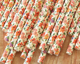 shabby chic FLOWERS floral paper straws