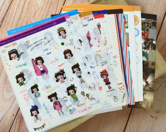 Tara Girl cartoon & photo deco stickers set
