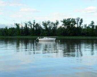 White Boat in the Harbor New York Hudson Valley