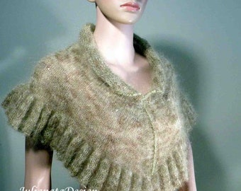 Sale - ELEGANT PONCHO/CAPLET - Wearable Fiber Art, Loosely Knitted, Italian Top Quality Kid Mohair