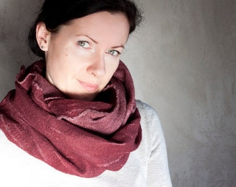 Marsala felted scarf merino wool burgundy infinity cowl chunky scarf winter scarf dark red neck warmer unisex hood handmade to order