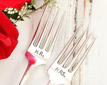 Silver plate wedding flatware, Mr  Mrs wedding cake forks - Milady