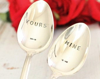 Couples Gifts  Mine and Yours Stamped Spoon Set Hand Stamped Silverware