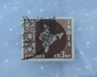 1950s Era Map of India 3 N.P. Stamp Brown and White