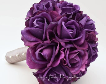 Purple Real Touch Roses Purple Wedding Bouquet and Boutoniere - Real Touch Silk Flower Purple Roses - Choose Your Colors