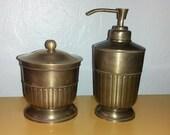 Steampunk Reenactment Solid Brass 2pc Set Bath Soap Lotion Dispenser & Cotton Swab Ball Holder